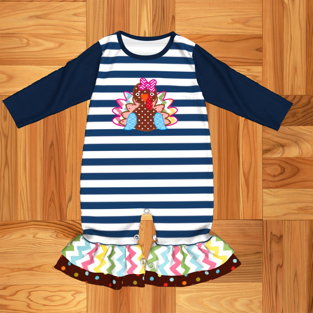 Thanksgiving Baby Clothes Girls   Romper   Cartoon Turkey Baby Clothing Jumpsuit Baby Girl Clothes GPF907-731-HY