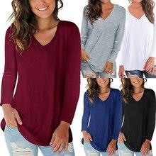Nova camiseta feminina outono cor sólida com decote em v manga comprida casual camisetas femininas outono básico camisetas all-matching plus size 4xl 5xl