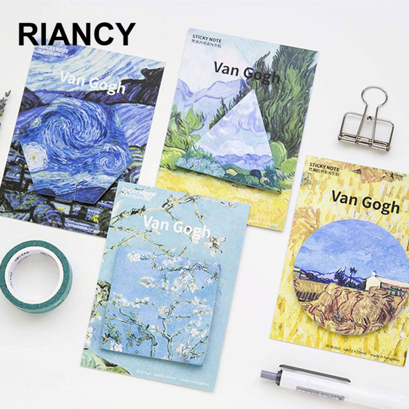 4pcs/lot Van Gogh Geometry Cute Sticky Notes Stationery Kawaii Stickers Scrapbooking Papeleria Stickers Planner Memo Pads 01927