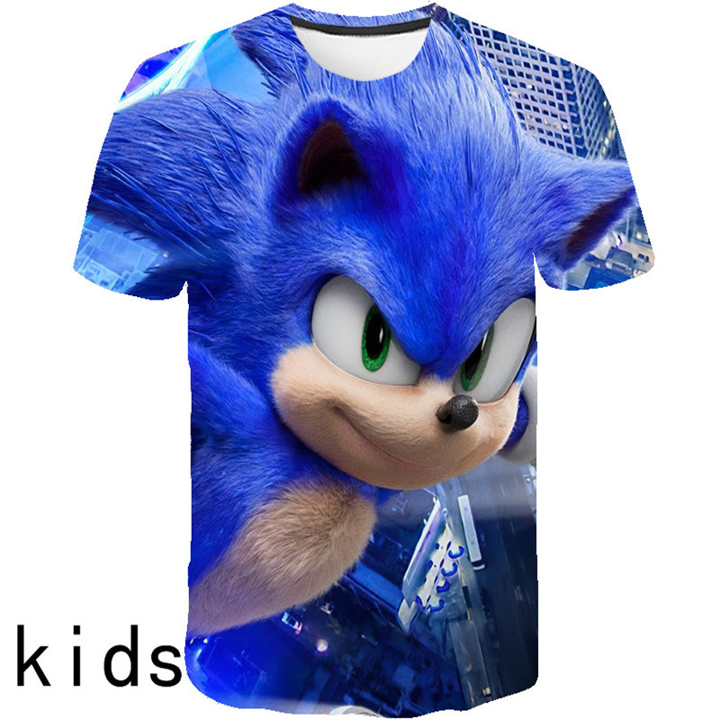 2020 Fashion 3D Sonic Hedgehog Cartoon T-shirt For Boys And Girls Summer Casual Short-sleeved Children's Wear