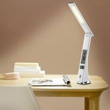 White Black Modern Rechargeable Desk Lamp 3 Brightness Touch Dimmer Foldable LED Desktop Light with Clock Calendar Time Alarm