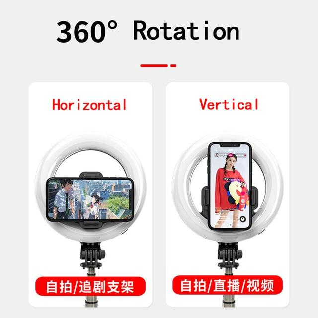 multi functional portable  folding selfie stick ring light tripod remote control
