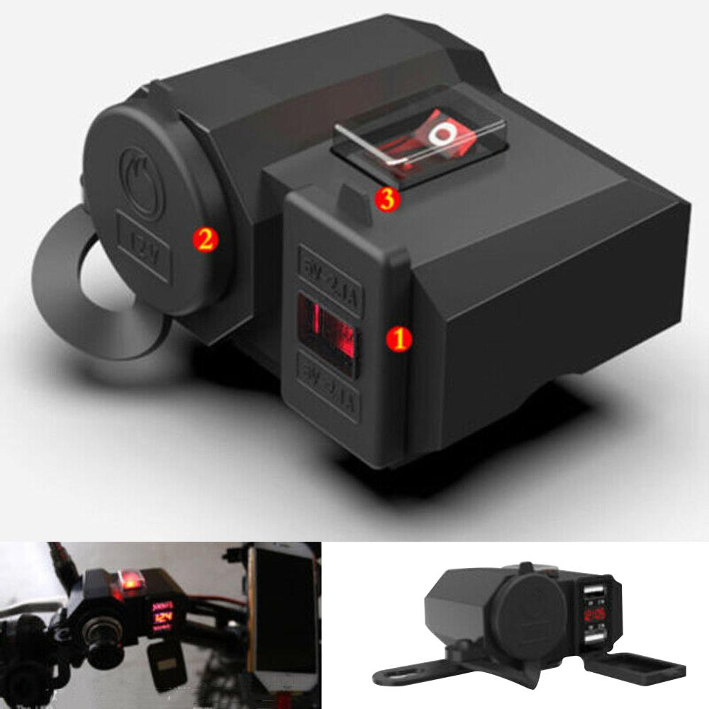 Motorcycle Charger 5V 2.1A Output Dual USB Ports And Cigarette Lighter Socket Outlet Design With Waterproof Independent Switch