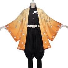 Uwowo 악마 슬레이어: Kimetsu no Yaiba Agatsuma Zenitsu 코스프레 의상 악마 Slaying Corps Uniform Man