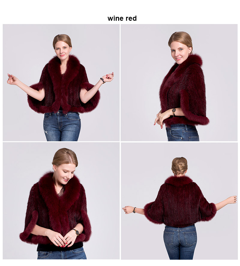 knit mink fur poncho fox collar (red)