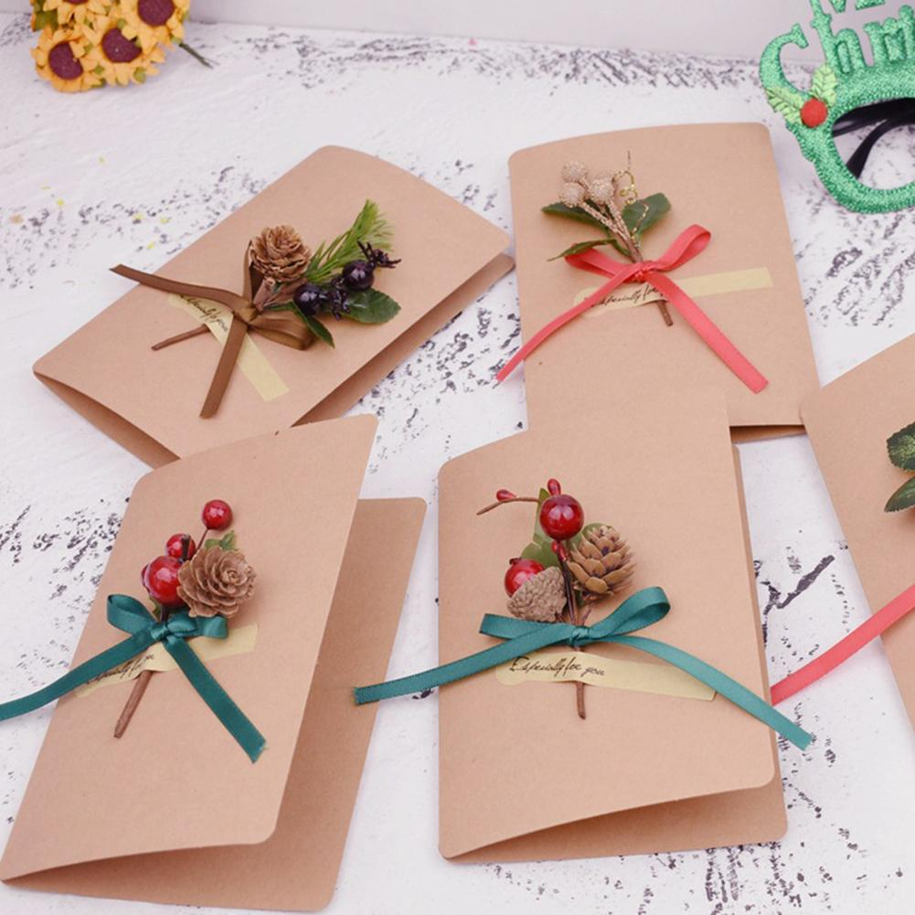 1 Branch DIY Wreath Christmas Artificial Flower Berries Stamens Bows Crafts Party Decoration