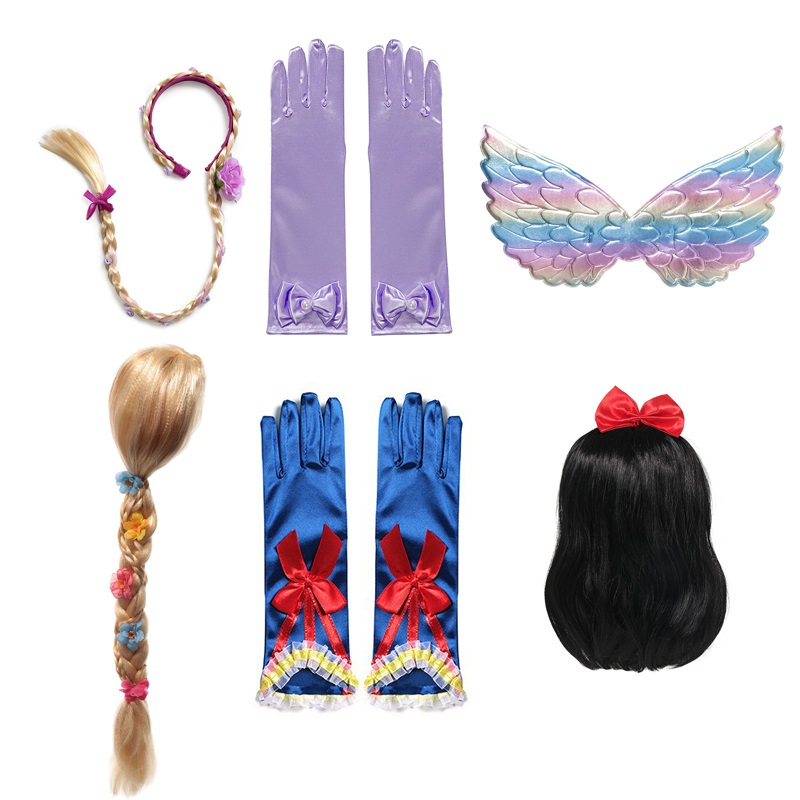 VOGUEON Girls Rapunzel Snow White Mermaid Jasmine Wig Braid Children Rainbow Wings Gloves Party Accessory Kids Halloween Costume