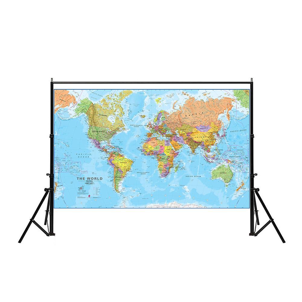 100x150cm o mapa físico do mundo não-tecido spray mapa do mundo sem bandeira nacional para cultura e educação