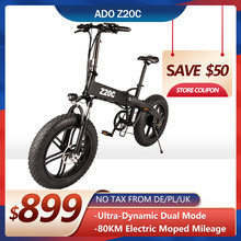 ADO Z20C Electric Bike 20Inche Fat Tire Mountain Ebike 350W Electric Bicycle Folding Bike 35km/h Max Speed ebike Adult Bicicleta