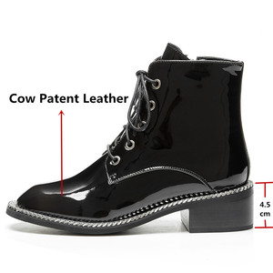 Image 3 - FEDONAS Women Genuine Cow Patent Leather Ankle Boots Winter Short Boots for Women Big Size Riding Boots Night Club Shoes Woman