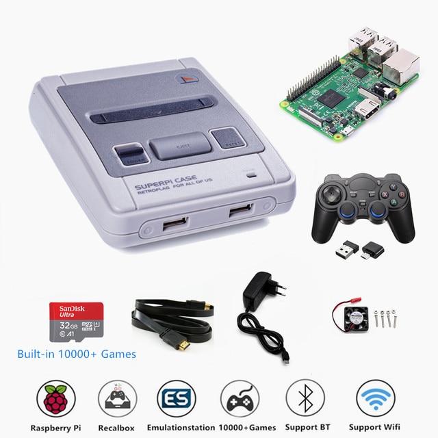 Retroflag TV Video oyunu konsolları SUPERPi CASE J ile Recalbox sistemi ahududu Pi 3B Retro oyun oyuncu dahili 10000 + oyunları