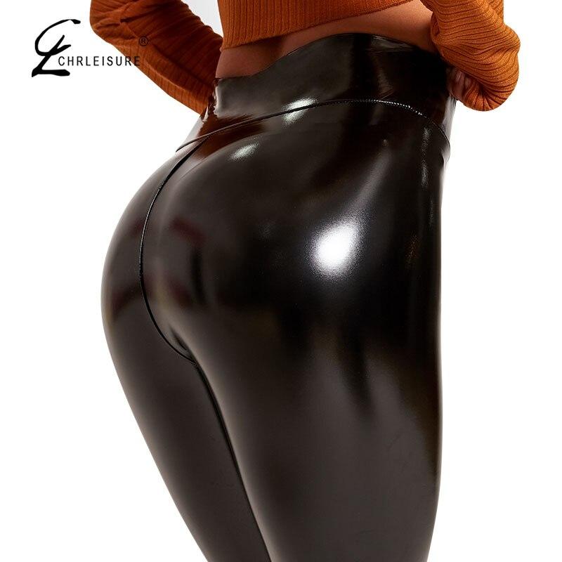 Women PU Leather Leggings Mujer Sexy Slim High Waist Leggings Push Up Fashion Casual Locomotive Pants