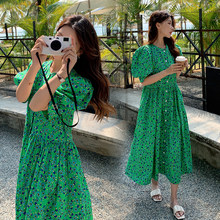 2021 new style Bohemian Fashion Polka dot dress v-neck long sleeve high waist cotton summer dress classic green skirt girl bubbl