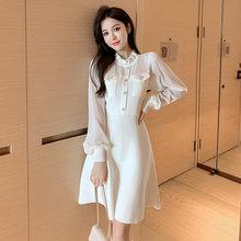COIGARSAM pełna rękaw kobiety sukienka jednoczęściowa koreański nowy drutach sukienki z wysokim stanem biały czarny 9285