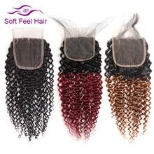 Miękkie w dotyku włosy brazylijski perwersyjne kręcone zamknięcia z dzieckiem włosy czarne burgundii Ombre ludzkich uzupełnienie splotu włosów Lace Closure 4x4 1B/30 Remy ludzki włos zamknięcie