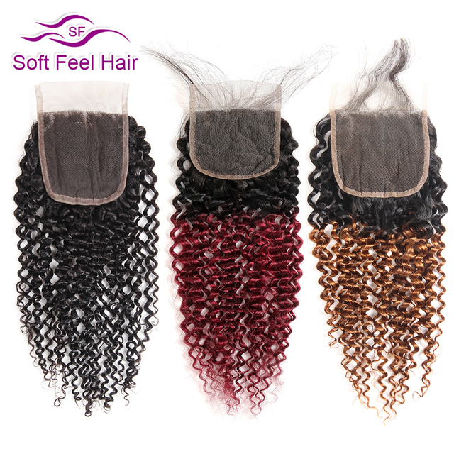 Soft Feel Hair Brazilian Kinky Curly Closure With Baby Hair Black Burgundy Ombre Human Hair Lace Closure 4x4 1B/30 Remy Closure