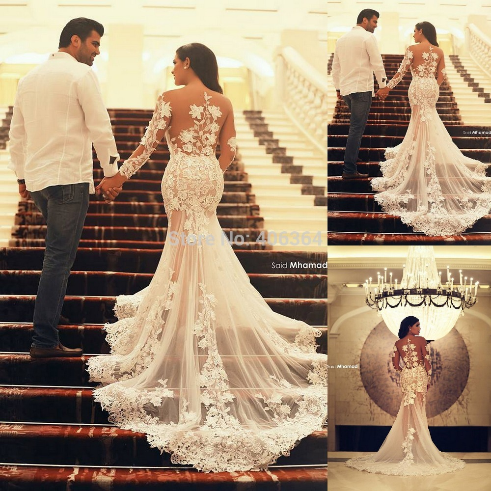 Sexy Transparent White Appliques Long Sleeves Court Train Mermaid Bridal Gown Wedding Dresses 2019 Vestido De Noiva