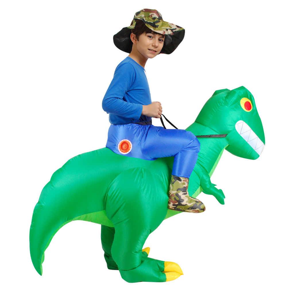 ילדים למבוגרים ליל כל הקדושים דינו מתנפח תלבושות נסיעה ירוק דינוזאור קוספליי תלבושות מצחיק קרנבל הליכה T-rex לפוצץ בגדים