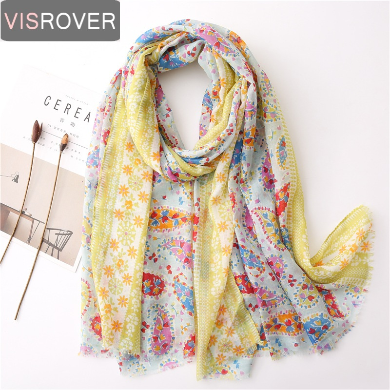 VISROVER Summer Scarf For Women Girl Viscose Bohemian Floral Scarf  Lady Tropical Print Scarf Beach Scarfs Sun Protection Shawl