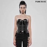 Punk Heart Shaped sexy slim Women Corsets vest fashion Faux Leather Zipper Fly belt Black Corsets tops Punk Rave WY 1115SYF