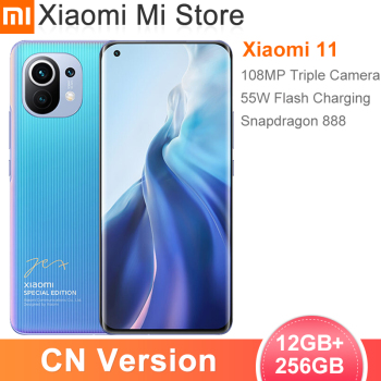 Chinese Version Xiaomi Mi 11 12GB RAM 256GB ROM Smartphone Snapdragon 888 Octa Core 108MP Rear Camera 55W Fast Charge 4600mAh