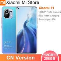 La versión en chino Xiaomi Mi 11 12GB de RAM 256GB ROM Smartphone Snapdragon 888 Octa Core 108MP cámara trasera 55W de carga rápida 4600mAh