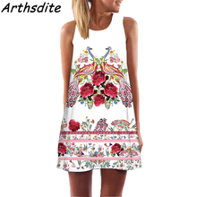 Arthsdite 2018 Bohemian Summer Dresses Tunic Sundress Women Off Shoulder O-Neck Floral Print Retro Female Mini Dress Vestidos
