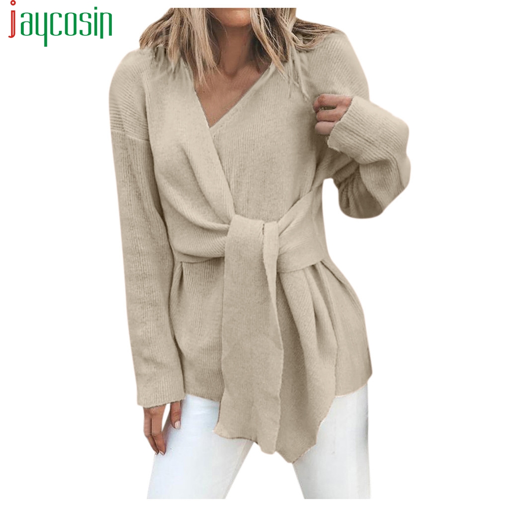 Oversize Women V-neck Sweater Autumn Winter Stitching Knotted Pullover Long-sleeved Casual Plus Size Ladies Tops Sweater Female