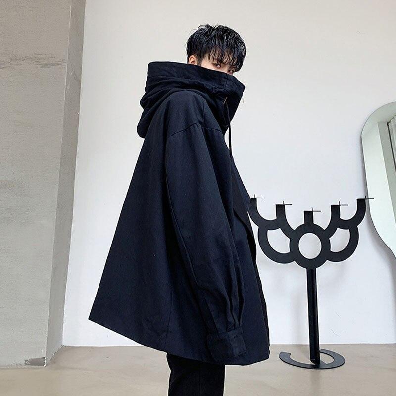 Men Fashion Big Collar Loose Casual Hooded Jacket Male Women Streetwear Hip Hop Autumn Spring Coat Outerwear