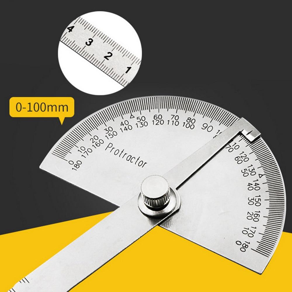 Outil de mesure multifonctionnel réglable de mathématiques de règle de tête ronde dacier inoxydable de 180 degrés