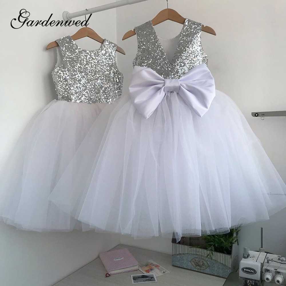 Simple Sequin Lace Flower Girl Dresses O-Neck V Back Tulle First Communion Dresses Big Bow Short Baby Girl Wedding Party Dresses