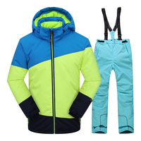 Boys Clothing Children Sets kids Ski Suit Winter Thicken Outdoor Hood Warm Sport Suits for Boys Snowboard Jacket Pants