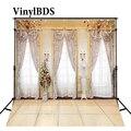 VinylBDS свадебный фон прозрачные оконные шторы и люстра свадебный фон для фотосъемки одноцветные кирпичные полы фоны