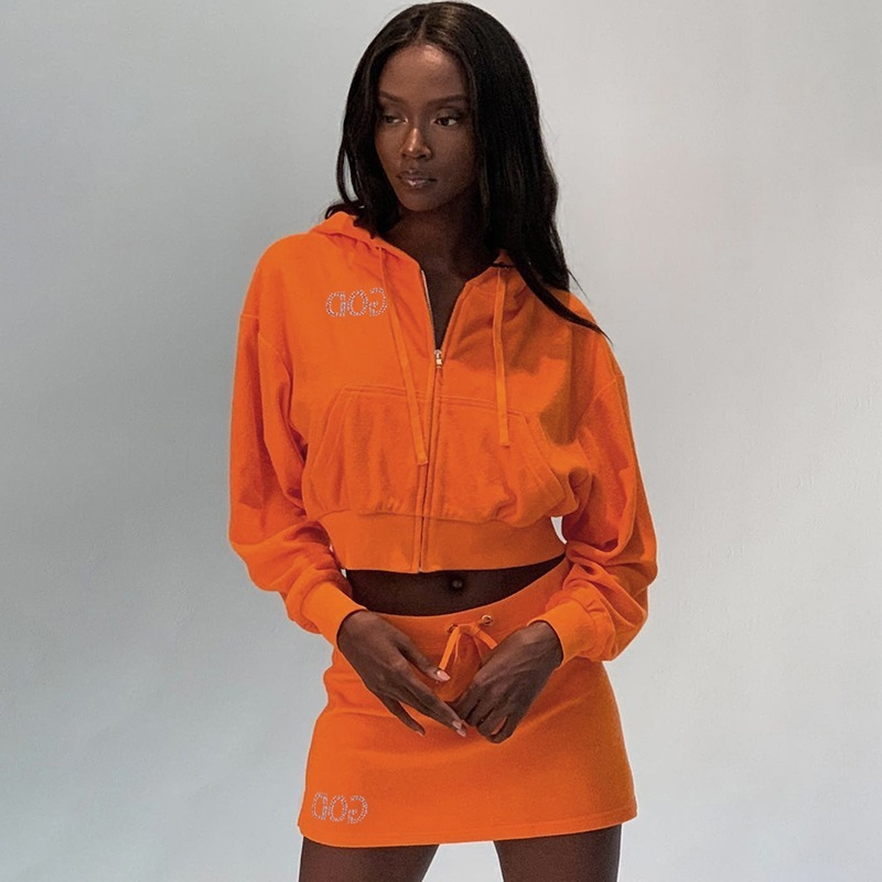 Fashion Two Piece Set Rhinestone Letter Orange Sports Hoodies Skirt Matching Sets Streetwear Fall Outfits 2019