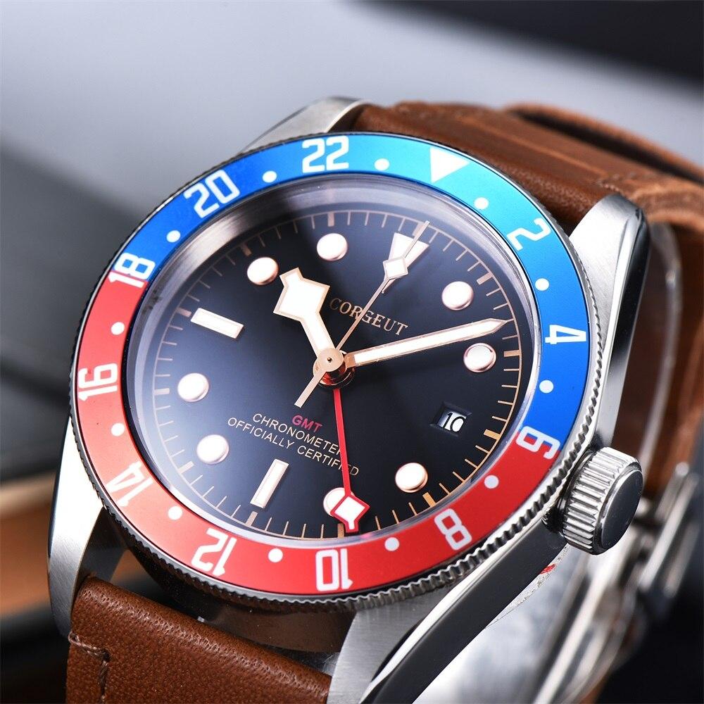 Corgeut люксовый бренд Schwarz Bay GMT Мужские автоматические механические часы Военные Спортивные часы для плавания кожаные механические наручные ...