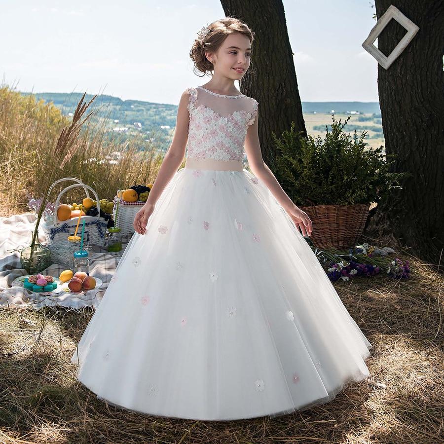 Бальное платье для принцессы Amaya, Цветочное платье для девочки с круглым вырезом и 3D цветами, пышные платья для причастия, платья без рукавов...