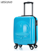 VESCOVO 18inch Cartoon Children trolley suitcase bear jingle cat boarding travel bag on wheels carry on rolling luggage