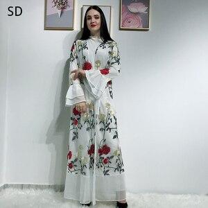Embroidered Open Abaya Dubai Kaftan Islam Muslim Hijab Dress Abayas Women Robe Caftan Turkish Dresses Islamic Clothing