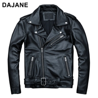 Cow classic cowhide motorcycle thick moto jacket 100% natural calf genuine leather man lapel motorcycle jacket biker coat