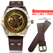 Steampunk Automatic Watch Men Skeleton Mechanical Watch Vintage Bronze Case Retro Leather Transparent Mens Watches montre homme