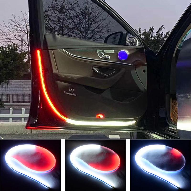 2Pcs Car Door Welcome & Warning Strobe Signal LED Strip Lights Lighting Gadgets Novelty Lightings