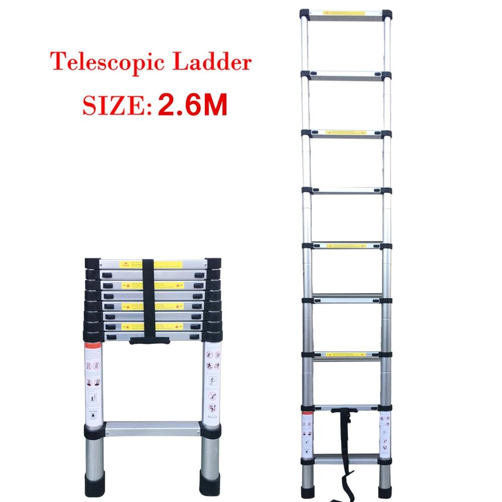 8.53FT Household Foldable Aluminium Alloy Ladder 7/9/11Steps Extension Ladders Telescopic Extendable 150kg Bear Weight