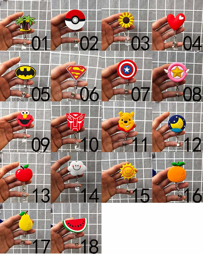 15Pcs Fashion Fruit Hero Cartoon Retractable Badge Reel Student Nurse Exhibition ID Name Card Badge Holder Office Supplies