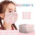 50 шт в наборе, детская маска с красивым принтом одноразовая маска для лица Маска детская промышленный 3 слоя петли уха Анти-пыль загрязнения ...