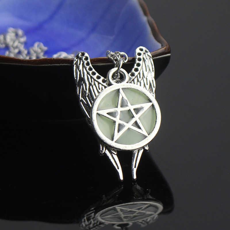 עתיק פנטגרם מחומש מלאך כנפי תליון טבעי שרשרת נשים תכשיטי שרשרת זוהרת זוהר בחושך מתנה