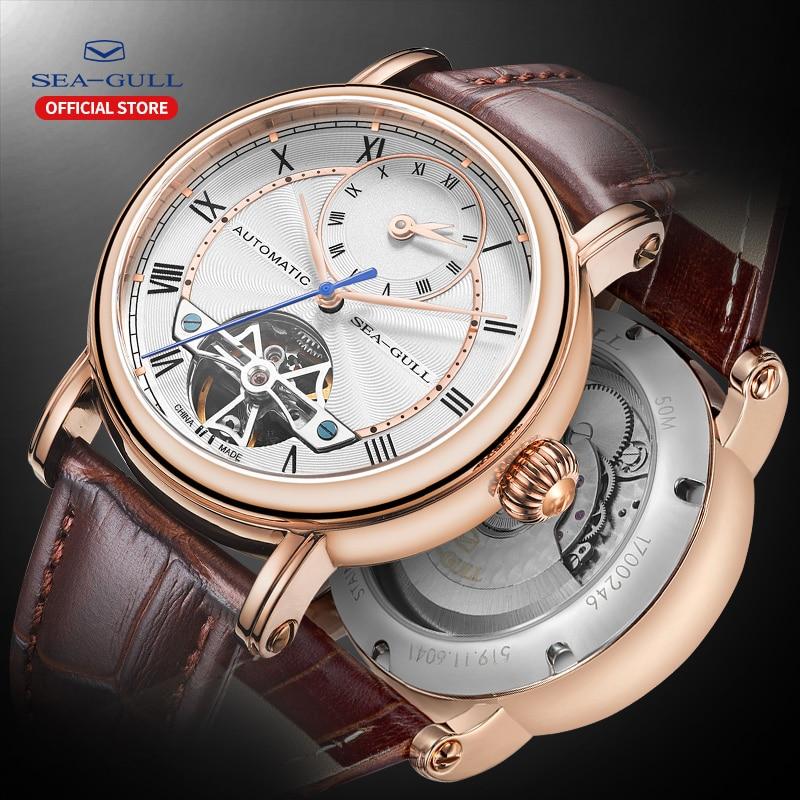 SEA GULL Business Watches Mens Mechanical Wristwatches Week Calendar 50m Waterproof Leather Valentine Male Watches 819.11.6041Mechanical Watches   -
