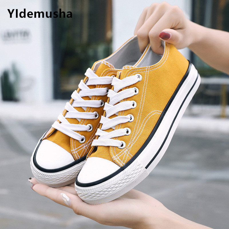 White Sneakers Vulcanize-Shoes Yellow Outdoor Black Lovers New-Fashion Walking Breathable