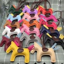 LTV Fashion Naomy&ZP Famous Luxury Handmade PU Leather Horse Keychain Animal Key Chain Women Bag Charm Pendant Accessories
