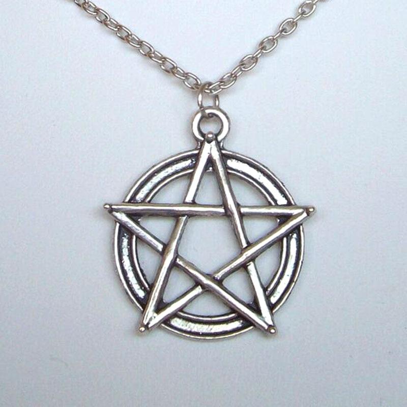 Collar de plata plateado pentagrama Estrellas Nueva En Bolsa De Regalo gótico Wicca Pagano