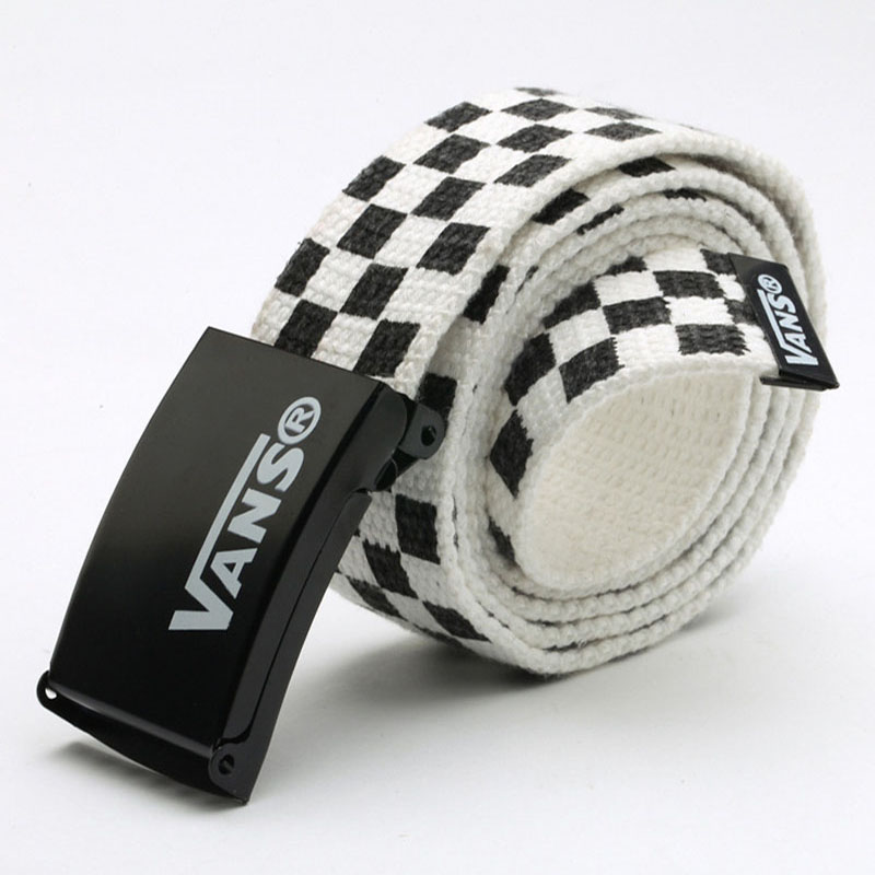 Mens Women's Belt Waistband 110cm Black White Plaid Belt Canvas Checkerboard Belts Cummerbunds Canvas Waist Belts Casual Checker